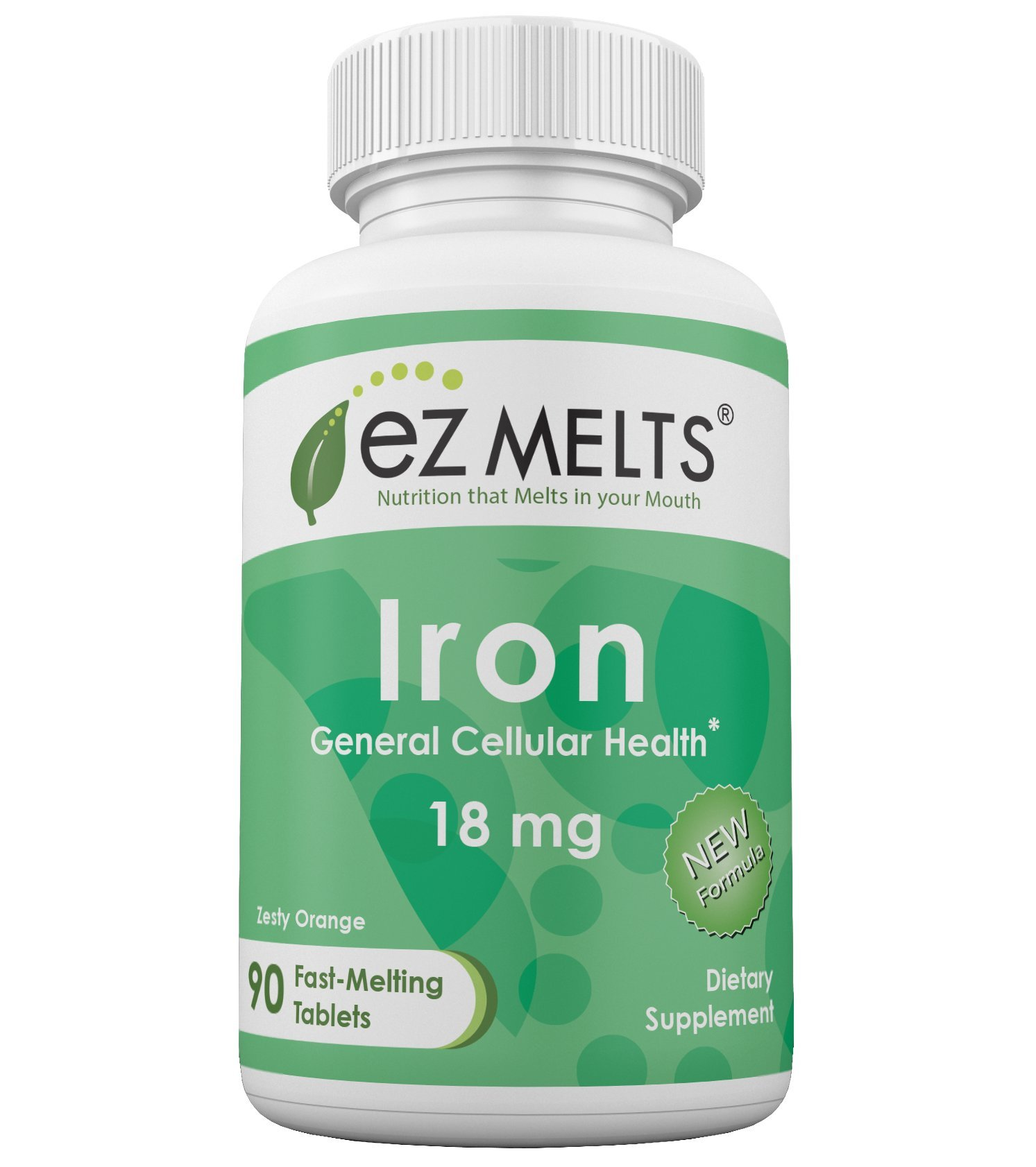 EZ Melts Iron, 18 mg, Dissolvable Vitamins, Vegan, Zero Sugar, Natural Orange Flavor, 90 Fast Melting Tablets, Carbonyl Elemental Iron Supplement