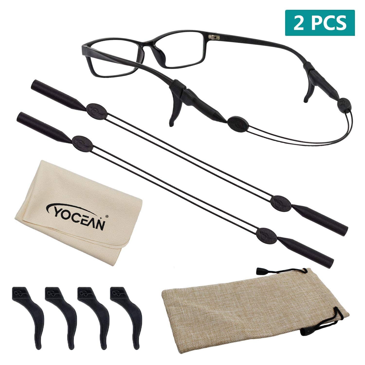 Eyeglass String Holder with 4 Anti-Slip Hooks 1 Pack Glasses Cloth and Glasses Bag 2 Pack - No Tail Sunglass Strap YOCEAN Adjustable Eyewear Retainer