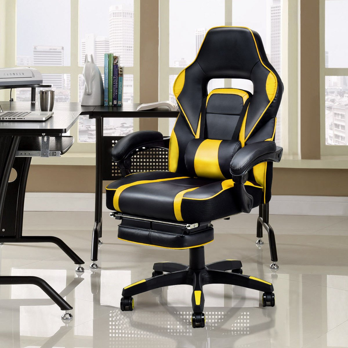 Giantex Gaming Chair Racing Chair Ergonomic High-Back with Footrest and Lumbar Support Adjusting Swivel Executive Office Desk Gaming Chair (Yellow)