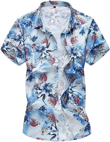 Yvelands Camisa con Botones de los Hombres Que Imprime la Camisa Delgada Apta Camiseta Superior Blusa Superior Tropical Camisa Hawaiana: Amazon.es: Ropa y accesorios