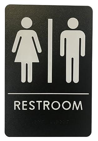 Amazoncom Rock Ridge Unisex Restroom Sign BlackWhite ADA