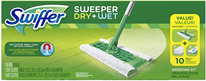 Swiffer Sweeper Cleaner Dry and Wet Mop Starter Kit for Cleaning