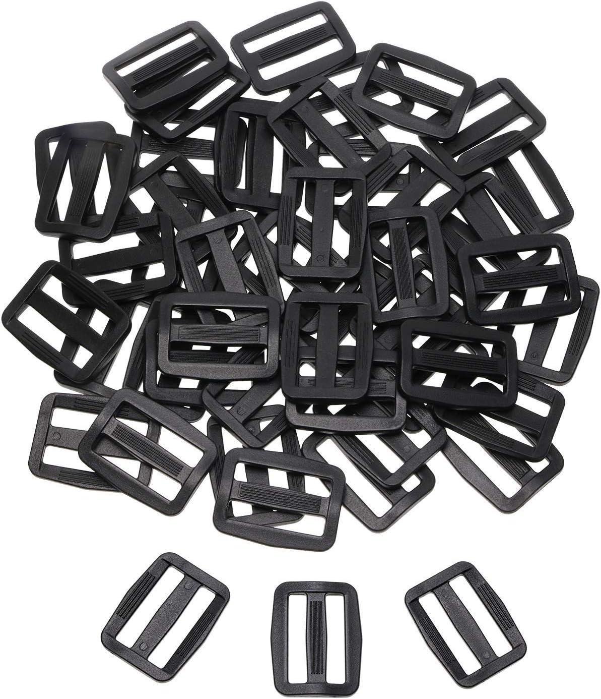 Shapenty 50PCS Black Plastic Tri-Glide