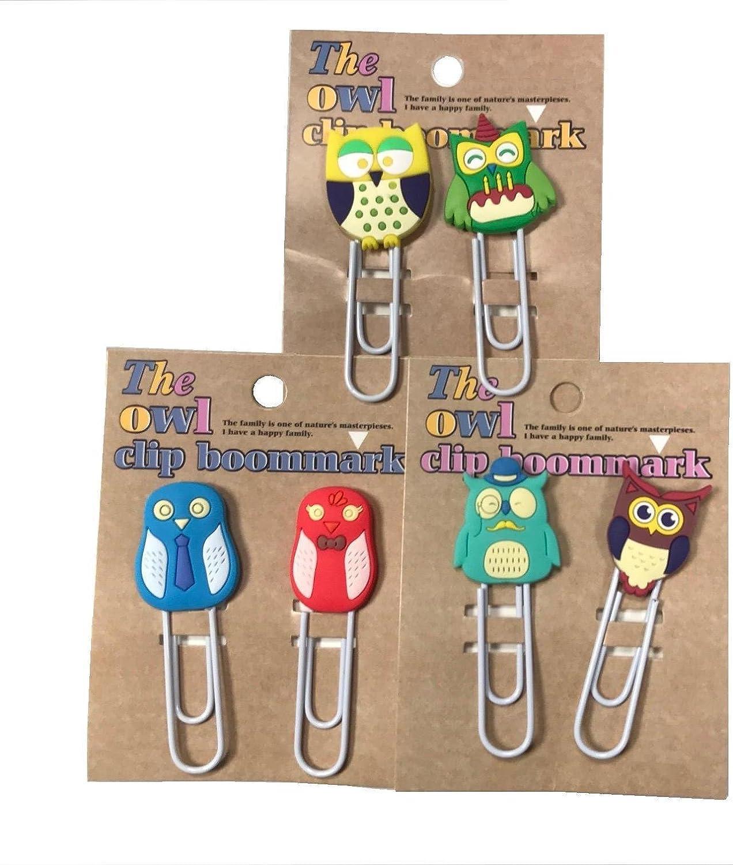 """6pcs Large Fancy Cute Rubber Owl Design Paper Clips Bookmark 9cm 3.5/"""""""