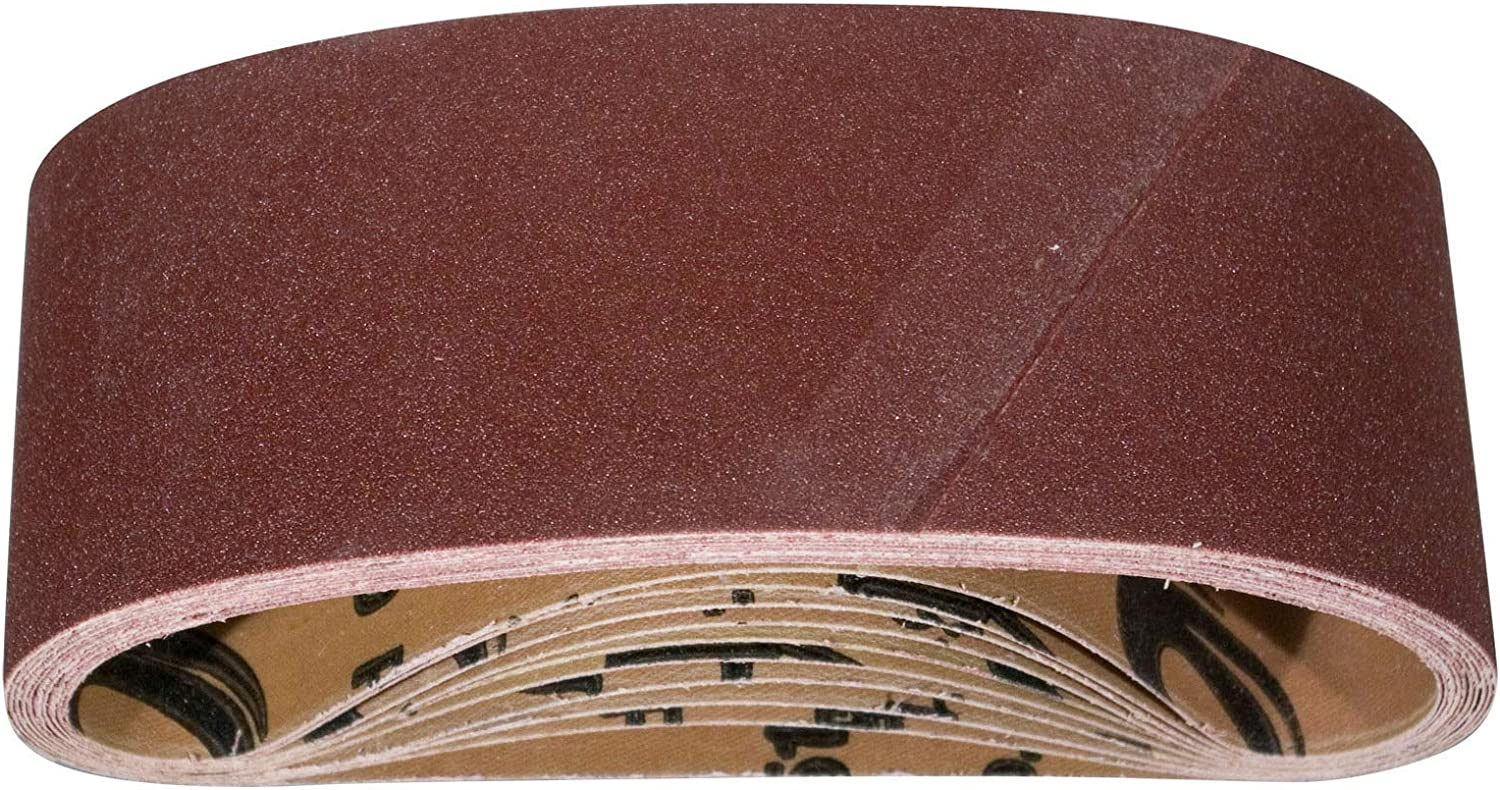 POWERTEC 110060 4 x 24 Inch Sanding Belts | 40 Grit Aluminum Oxide Sanding Belt | Premium Sandpaper For Portable Belt Sander – 10 Pack