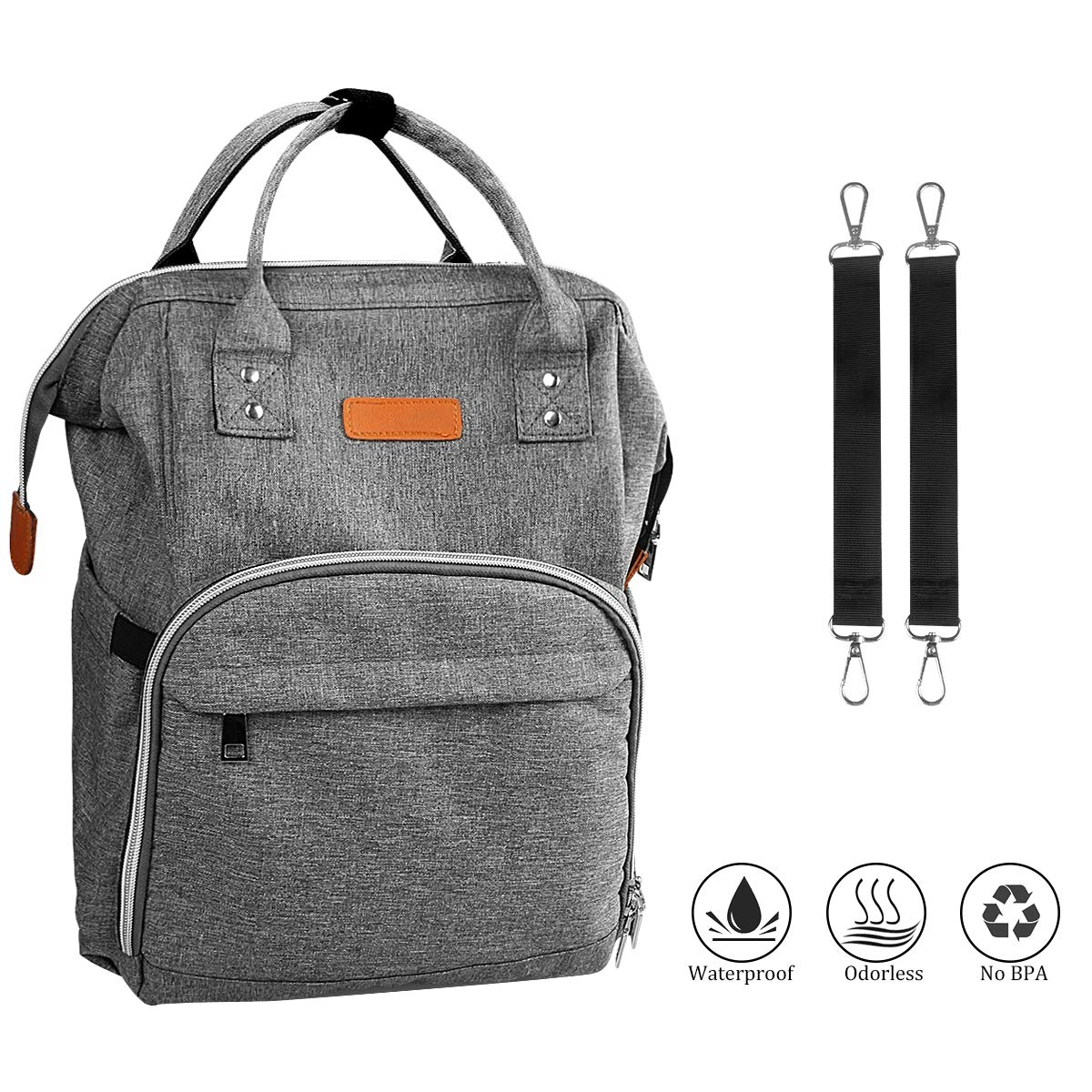 Baby Changing Backpack Diaper Bag Multi-Function Nappy Changing Bag Waterproof Large Capacity Mummy Bag Organizer with Stroller Clips for Baby Care, Grey YDK_Store