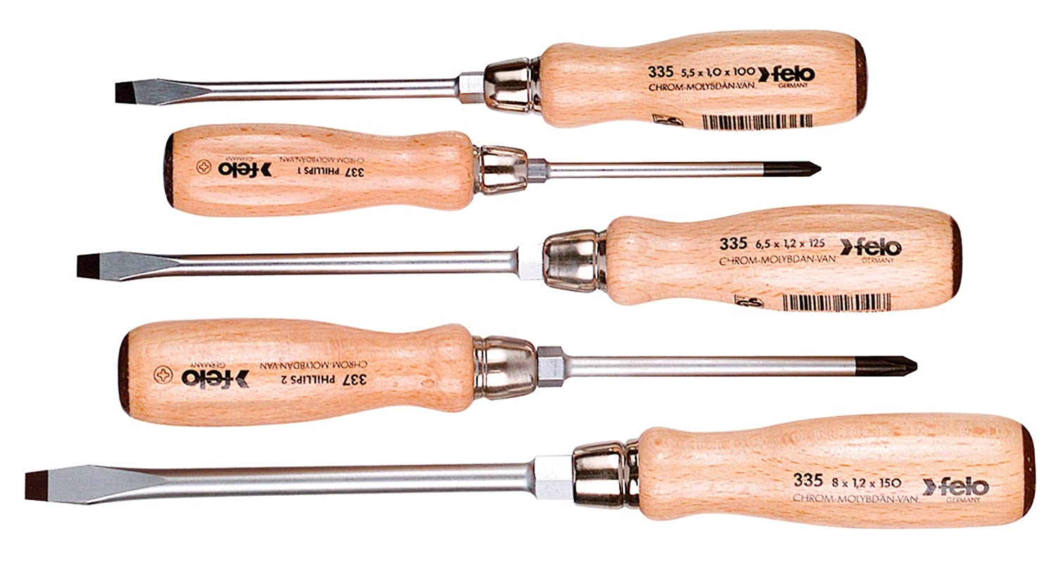Felo 07157 22155 Slotted and Phillips Wood Handle Screwdrivers