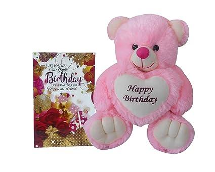 Buy saugat traders happy birthday soft teddy bear birthday wishes saugat traders happy birthday soft teddy bear birthday wishes greeting card pink m4hsunfo