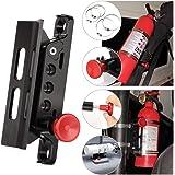 Adjustable Aluminum Roll Bar Bottle/Fire Extinguisher Mount Holder with 4 Clamps Vehicle Fire Extinguisher Bracket for Jeep Wrangler TJ JK JL JKU UTV Polaris RZR Ranger (Black Roll Bar Holder)