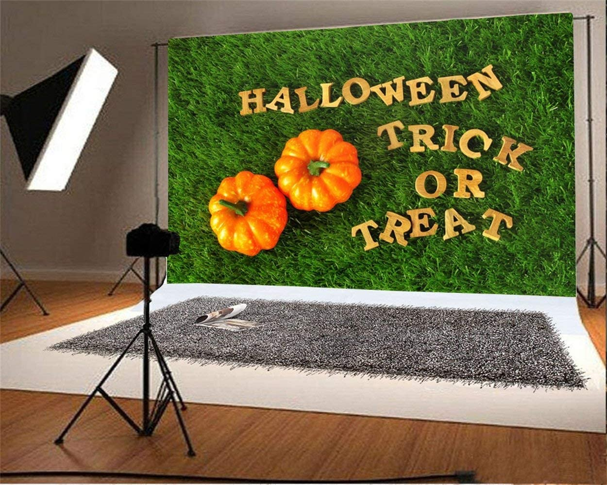 Halloween Trick or Treat Party Backdrop 10x6.5ft Polyester Photography Background Green Grassland Gloden Characters Small Cushaws Scene Kids Baby Shoot Kids Room Decorative Wallpaper Horror Night
