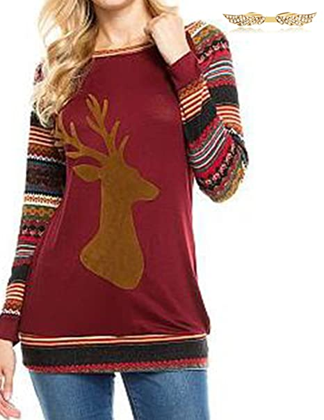 BYD Mujeres Camisetas Manga Larga Blusas Navidad la Impresión de los Alces T shirt Túnica Camisas
