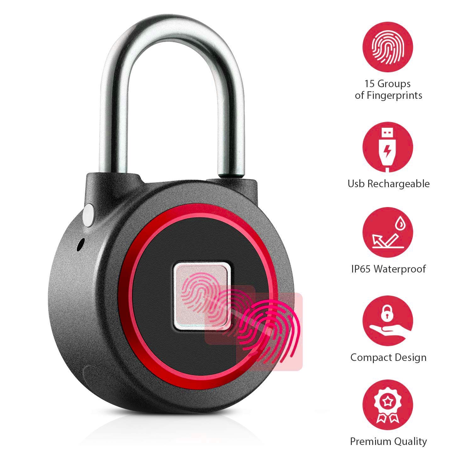 Fingerprint Padlock, Bluetooth, Waterproof, Anti Theft, keyless and biometric, Smart Lock Works with iOS & Android | Security Lock by GSi | usable for Gym, School, Luggage, cabinets | Metal by GSi