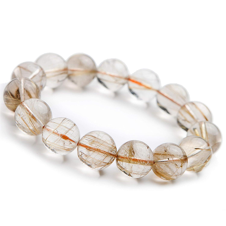 Natural Titanium Gold Rutilated Quartz Crystal Stretch Round Beads Gemstone Bracelet