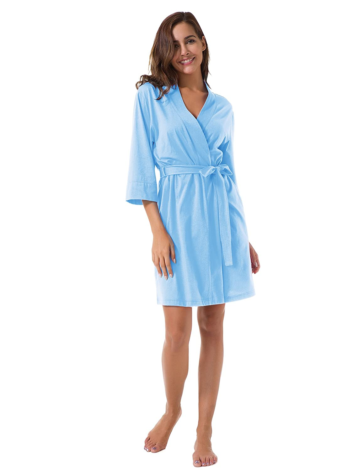 SIORO Womens Cotton Robe Soft Kimono Robes Knit Bathrobe Loungewear  Sleepwear Short fa65d022f