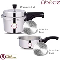 Abode Aluminium Pressure Cooker Combo 2+3 Litre, with Induction, Silver