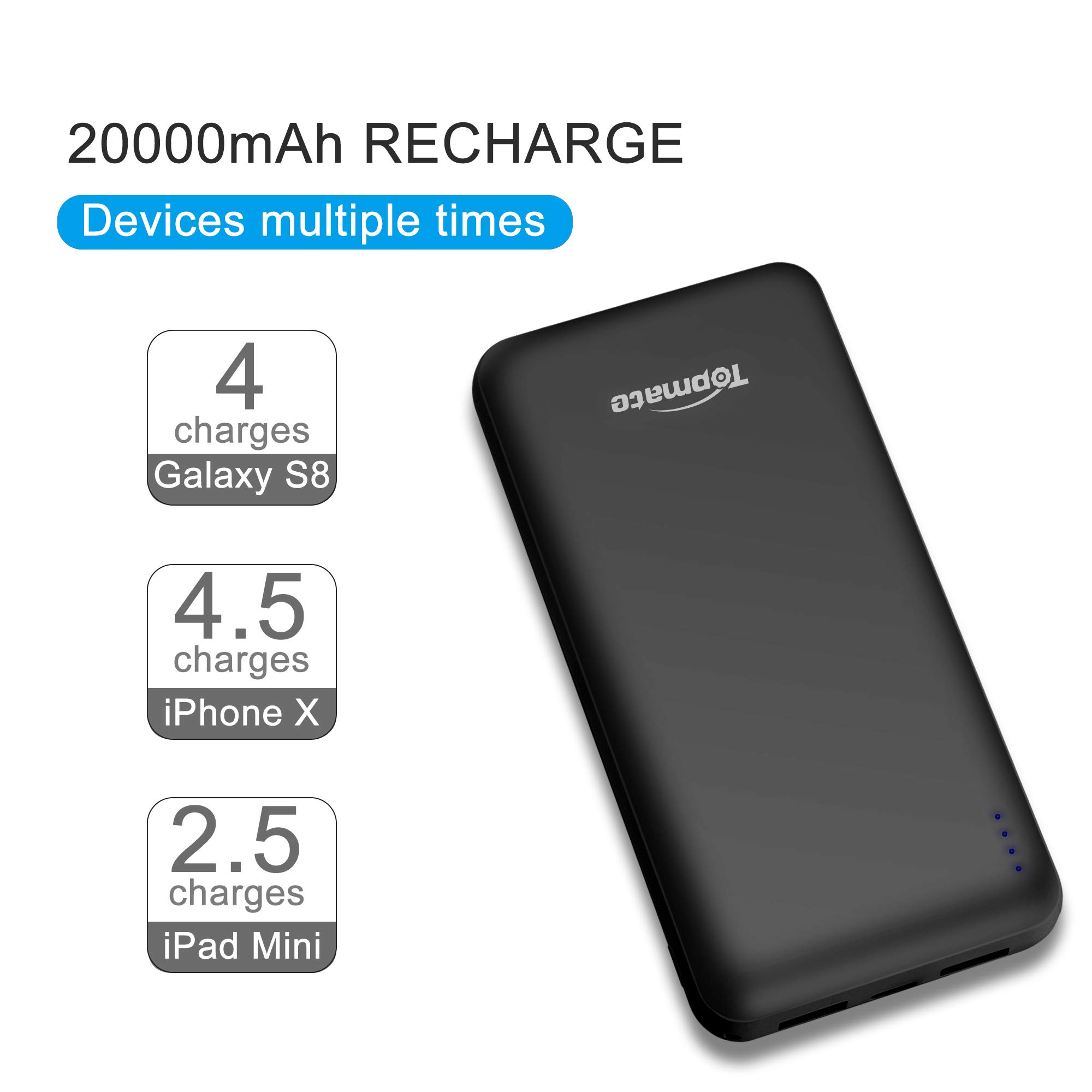 Topmate Power Bank Quick Charge 20000mAh Portable Charger QC 3.0 & PD 3.0 with Type-C Input &Output | Light Weight Design for Cellphone Pad and Some Laptops|Black