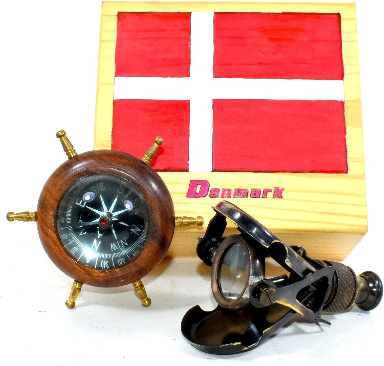 Antique Brass Folding Binocular Marine Compass Nautical Telescope Vintage Gift