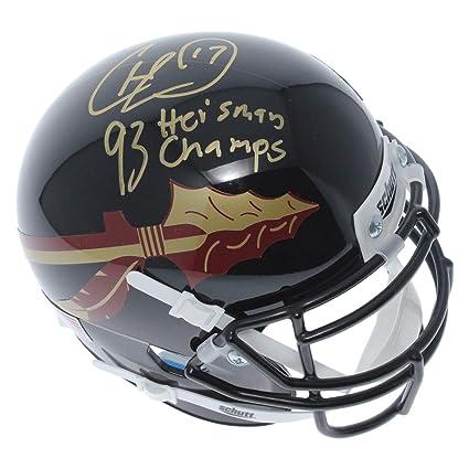 ad2b632b36f Charlie Ward Florida State Seminoles Autographed Signed Schutt Black Mini  Helmet - 93 Heisman   Champs