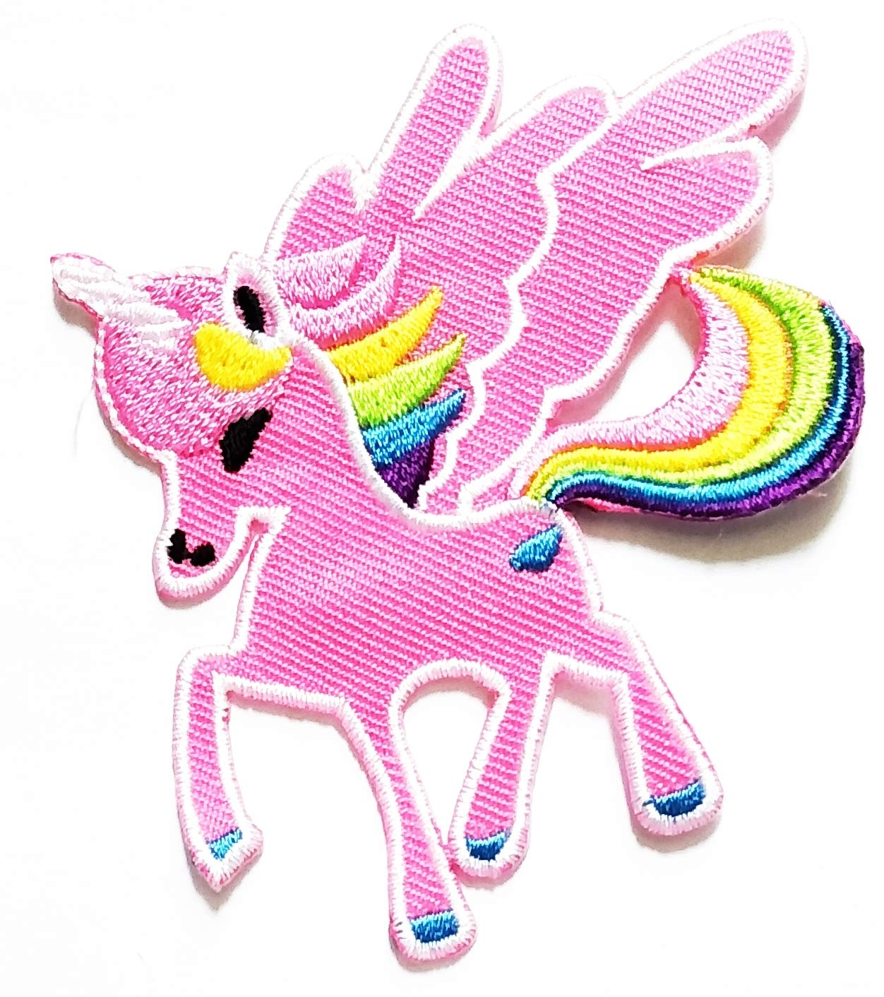 Nipitshop Patches Cute Fantasy Horse Unicorn Pink with Flying Wings Cartoon Kids Patch Embroidered Iron On Patch for Clothes Backpacks T-Shirt Jeans Skirt Vests Scarf Hat Bag
