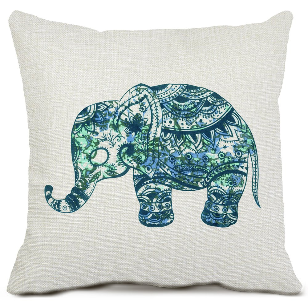 Amazon.com: Elephant Throw Pillow Covers Cotton Linen Pillow Cases ...