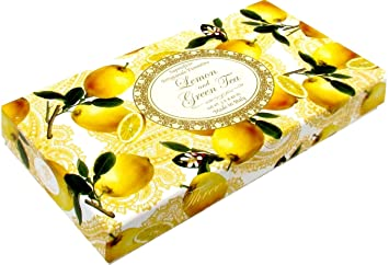 Saponificio Artigianale Fiorentino Soap Made in Italy - Lemon and Green  Tea, Three 4 4 oz bars