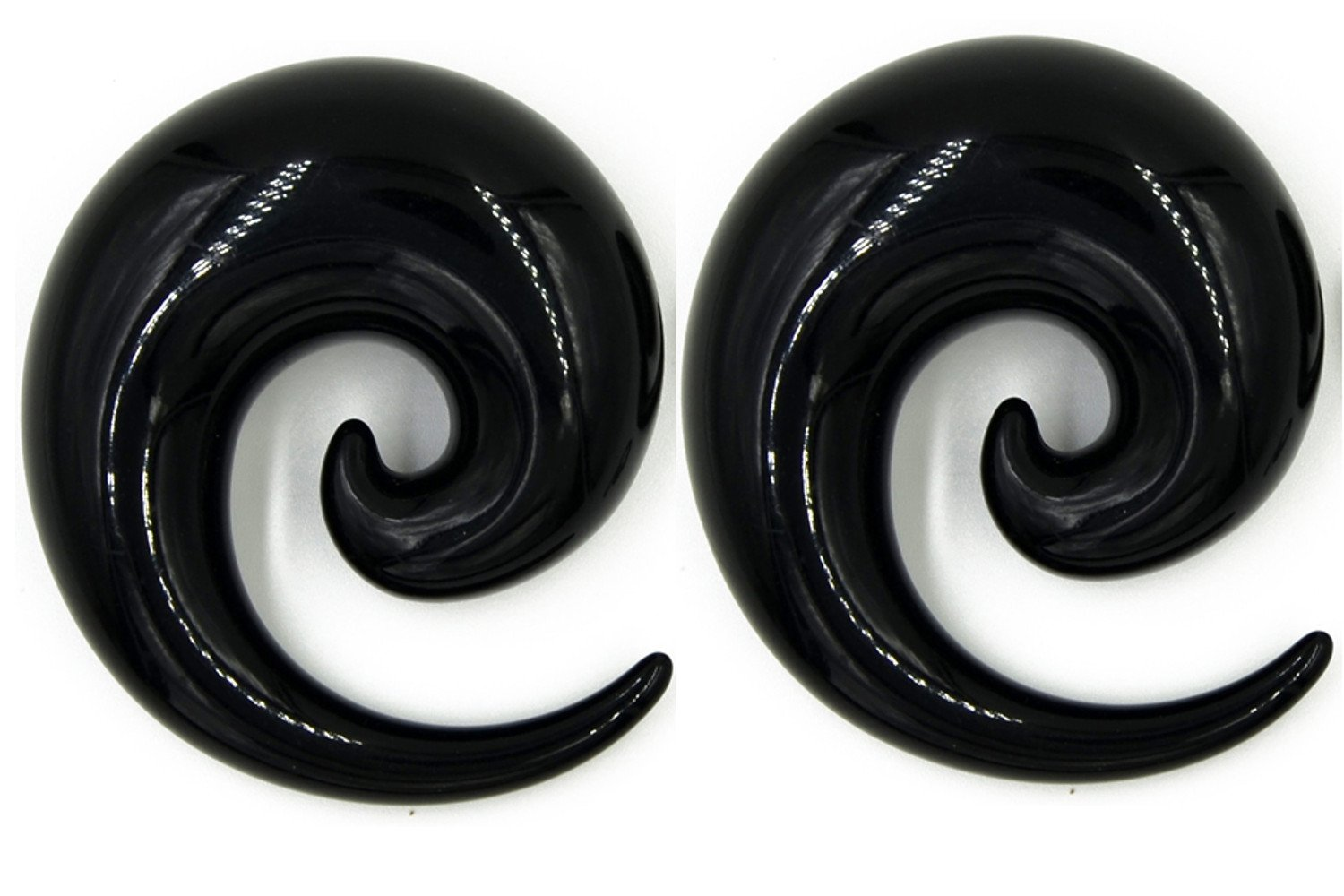 Zaya Body Jewelry Pair of Black Ear Plugs Tapers Spirals Horseshoes Tapers Gauges 16mm 18mm 20mm 24mm 26mm (16mm (5/8)) by Zaya Body Jewelry
