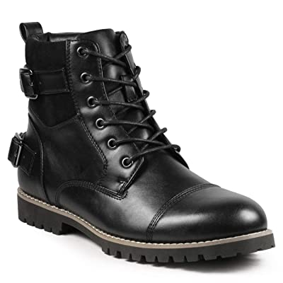 Metrocharm MC306 Mens Casual Work Lace Up Classic Motorcycle Combat Boots | Motorcycle & Combat