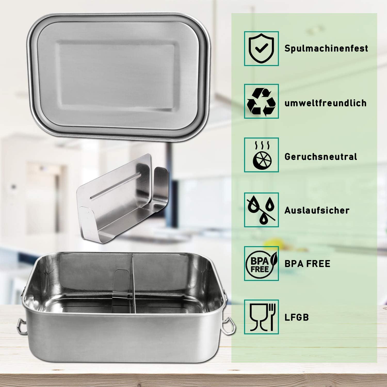 wolketon fiambrera de acero inoxidable lunch box de metal 1200 ml capacidad de caja bento con partici/ón para escolares y adultos
