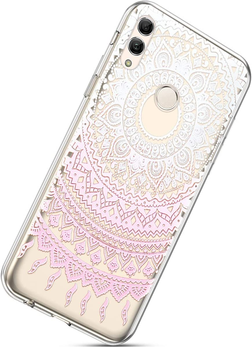 Herbests Compatible with Huawei P Smart 2019 Flower Case Girls Men Clear Design Thin Slim Fit Soft Flexible Crystal Transparent Silicone Rubber TPU Back Cover,Love Heart