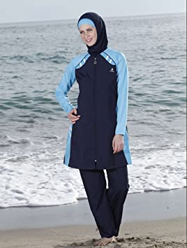 1ebf7b50d0 Adabkini Lavin Islamic Swimwear, Burkini, Covered Swimsuit, Modest Style,  Multi Color (Navy Blue, Small), Swimming - Amazon Canada