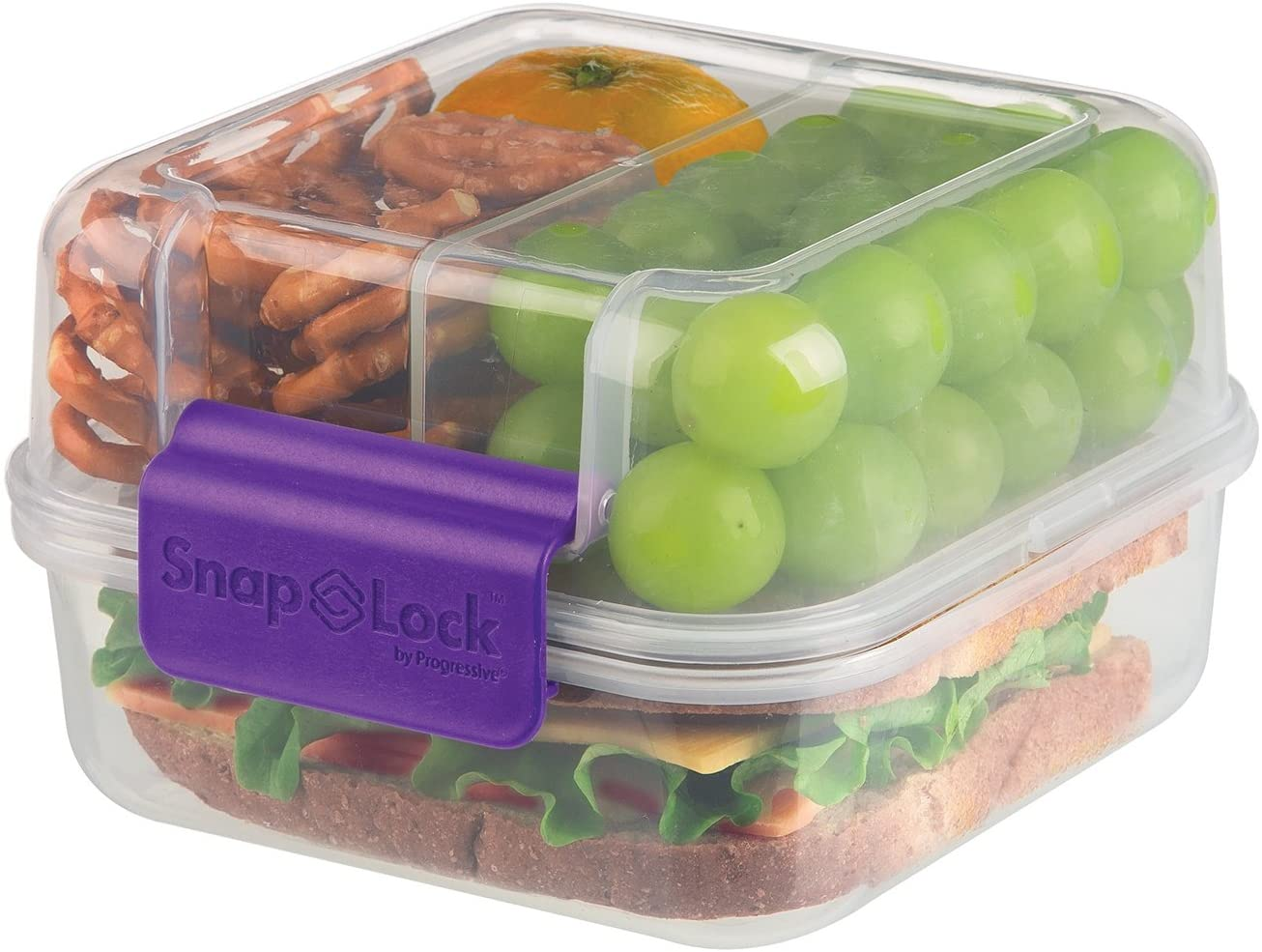 SnapLock by Progressive Lunch Cube To-Go Container - Purple, SNL-1005B Easy-To-Open, Silicone Seal, Snap-Off Lid, Stackable, BPA FREE
