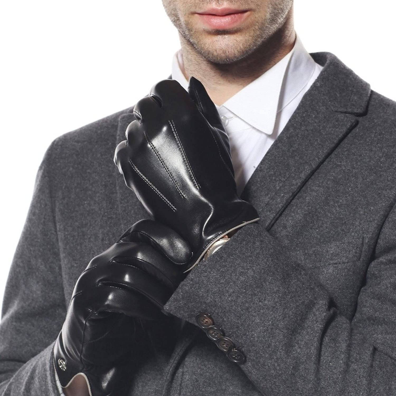 Mens black leather gloves xl - Luxury Men S Touchscreen Texting Winter Italian Nappa Leather Dress Driving Gloves Cashmere Wool Fleece Lining 8 Us Standard Size Black Fleece