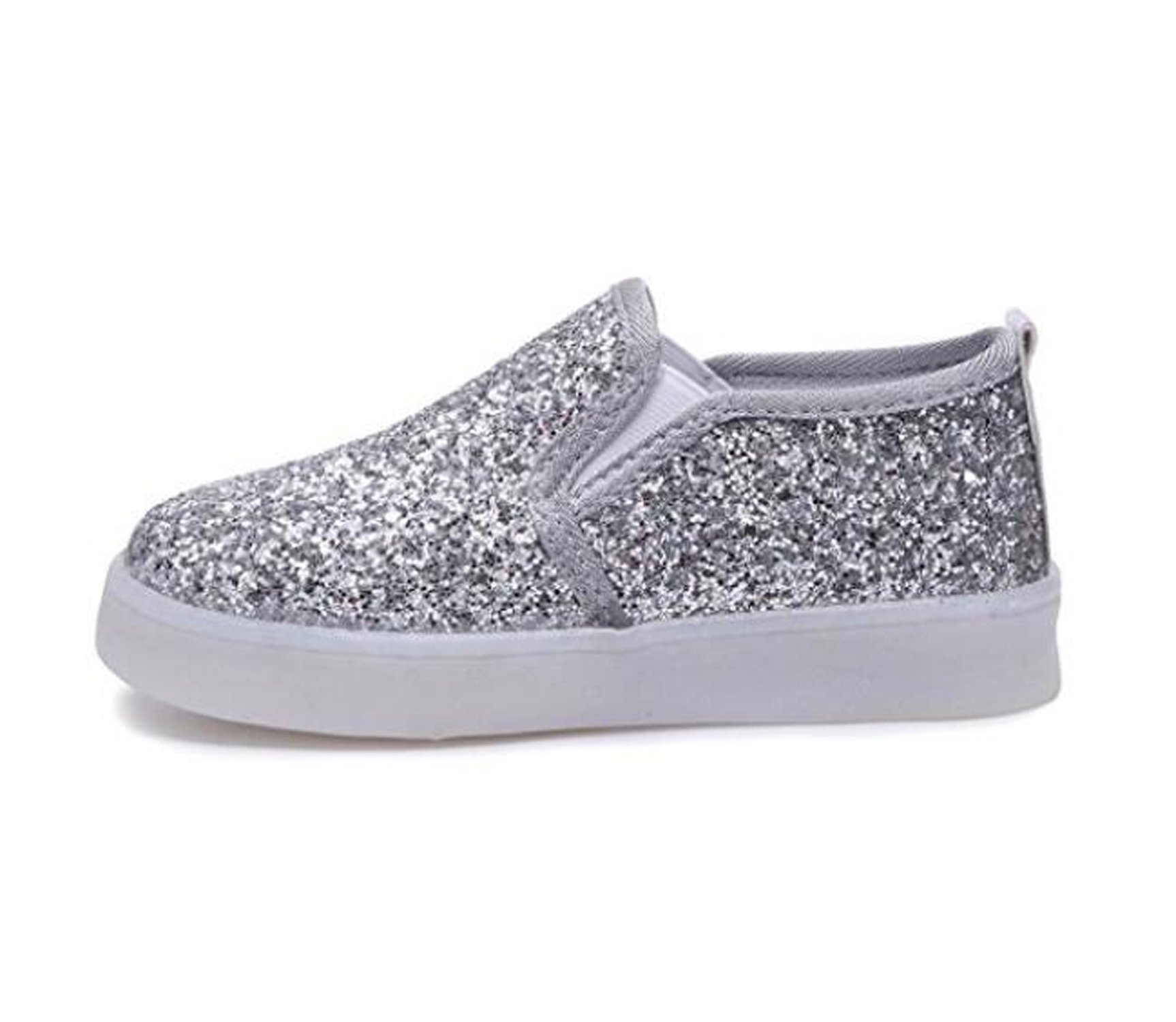 Otamise Girls' Light up Sequins Shoes Slip-on Flashing LED Casual Loafers Flat Sneakers (Toddler/Little Kid) (7M US Toddler, Sequins Silver)