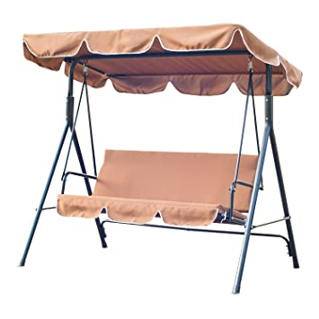 Outsunny Garden Patio Swing Chair 3 Seater Swinging Hammock Canopy Outdoor Cushioned Bench Bed Seat (  sc 1 st  Amazon UK & Outsunny Garden Patio Swing Chair 3 Seater Swinging Hammock Canopy ...