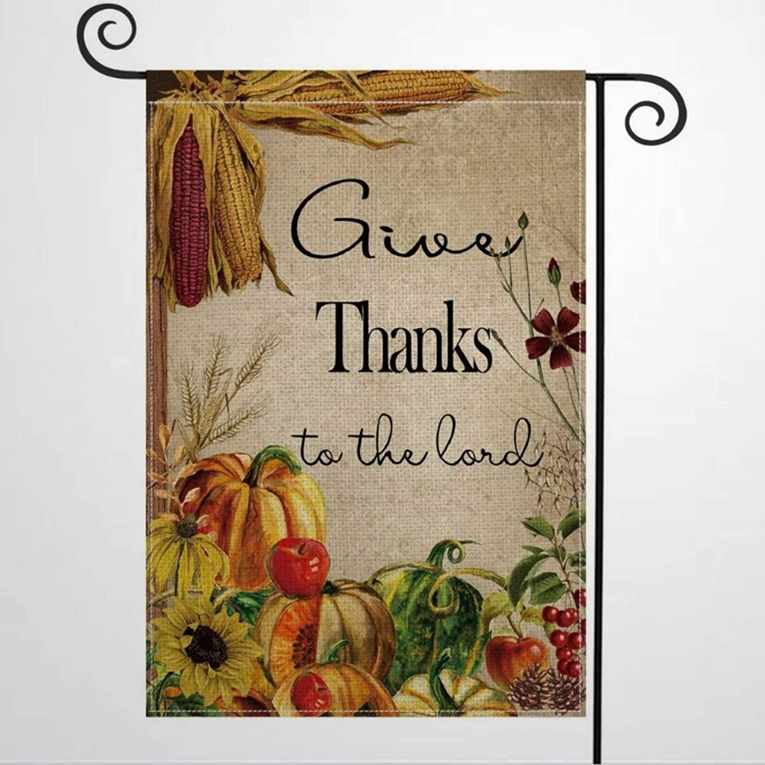 """Garden Flag Give Thanks to The Lord Fall Thanksgiving Harvest Yard Decor House Decor Flag Seasonal Banners for Patio Lawn Outdoor 12x18"""""""