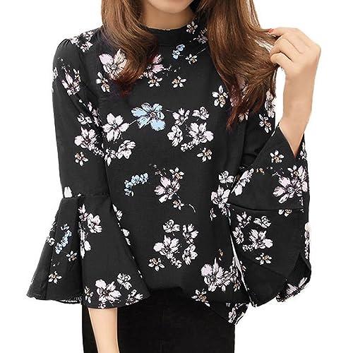 Otoño Nueva Mujer Blusa de gasa Floral Tops Flare manga Ladies Moda Camisa Por HARRYSTORE
