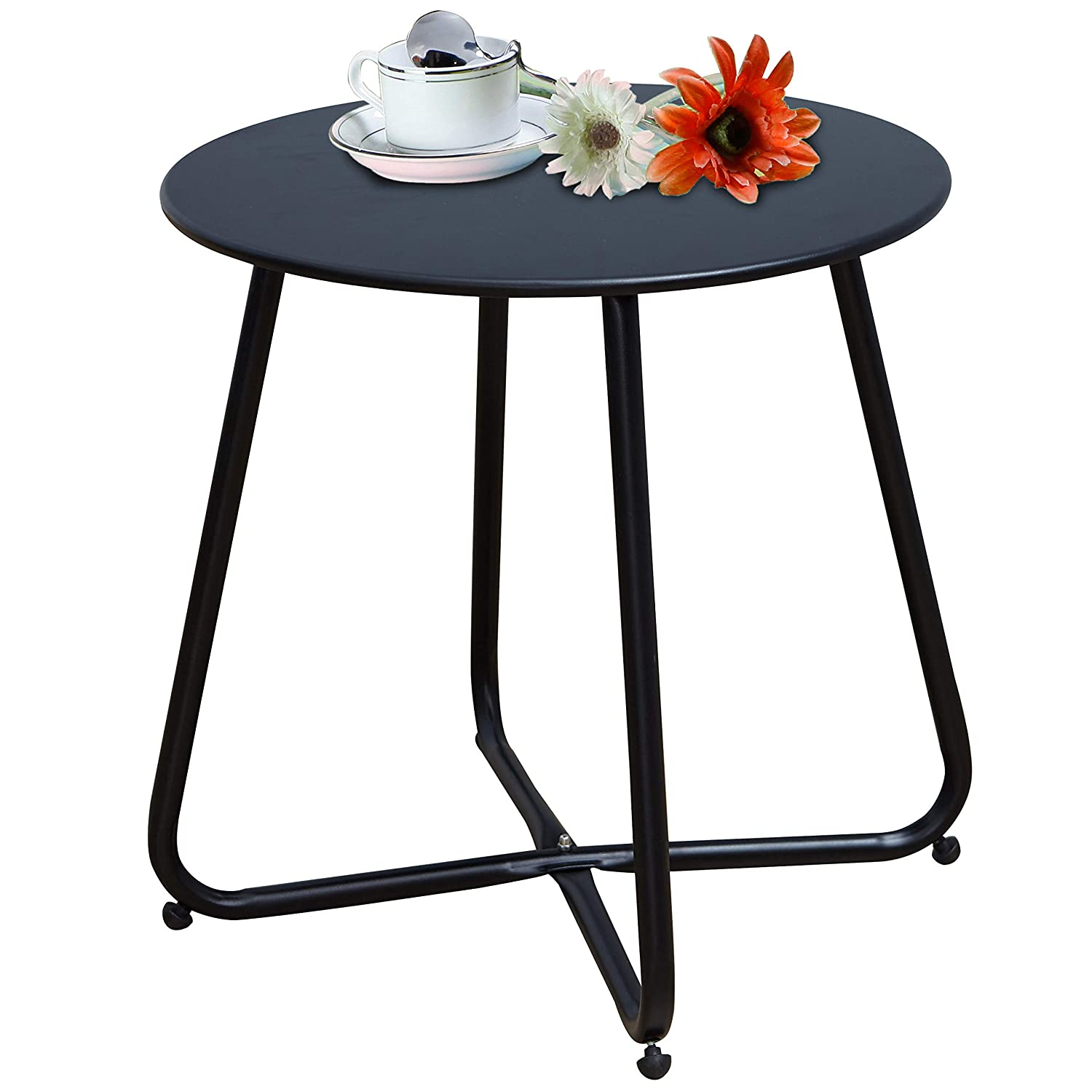 Grand patio Large Sized Steel Patio Coffee Table, Weather Resistant Outdoor Side Table, Small Round End Tables, Black