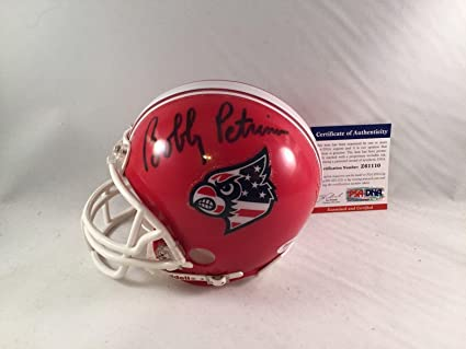 d6cbfb345 Amazon.com  Bobby Petrino Signed Louisville Cardinals Mini Helmet 2 ...