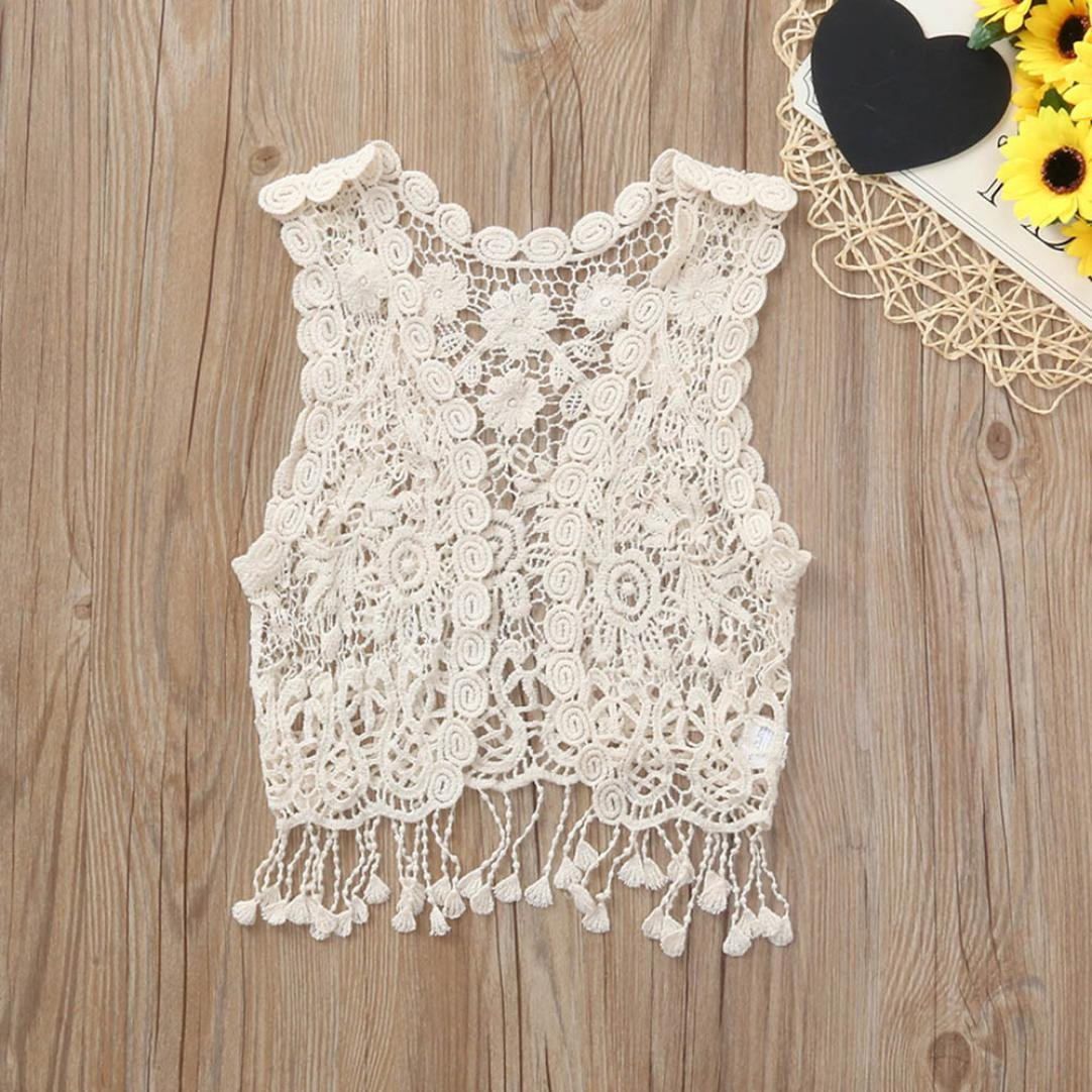 KaiCran Little Girls Clothing,Fashion Baby Girls Hollow Out Sleeveless Tassels Kids Casual Clothes Cardigan Vest