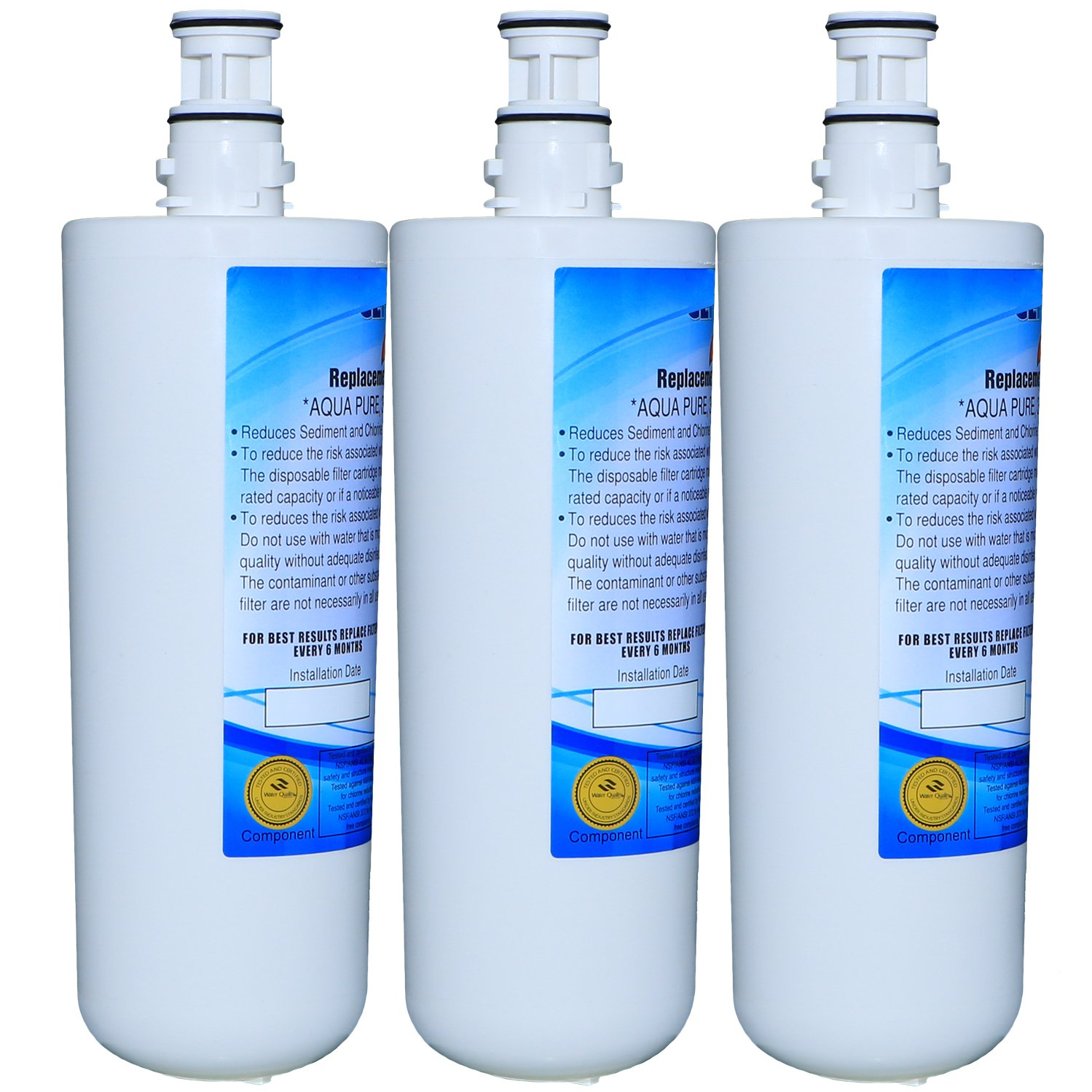 EXCELPURE Premium 3US-AF01 Undersink Standard Water Filter Replacement Compatible W/3M Filtrete 3US-AF01, 3US-AS01, 3US-PF01, 3US-PS01, Whirlpool WHCF-SRC, WHCF-SUFC, WHCF-SUF - 3PACK