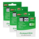 D1 Label Tape 45013 S0720530 Compatible for DYMO LabelManager 160 Black on White 12mm x 7m , 3 Cartridges