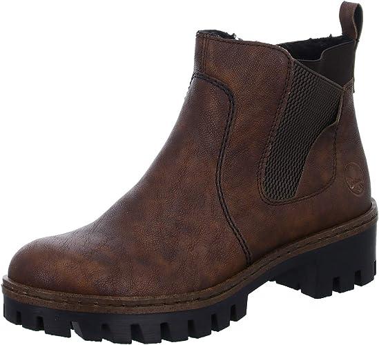 Rieker Damen Stiefelette Boots Stiefel Winterschuhe Schuh Lederimitat anthrazit