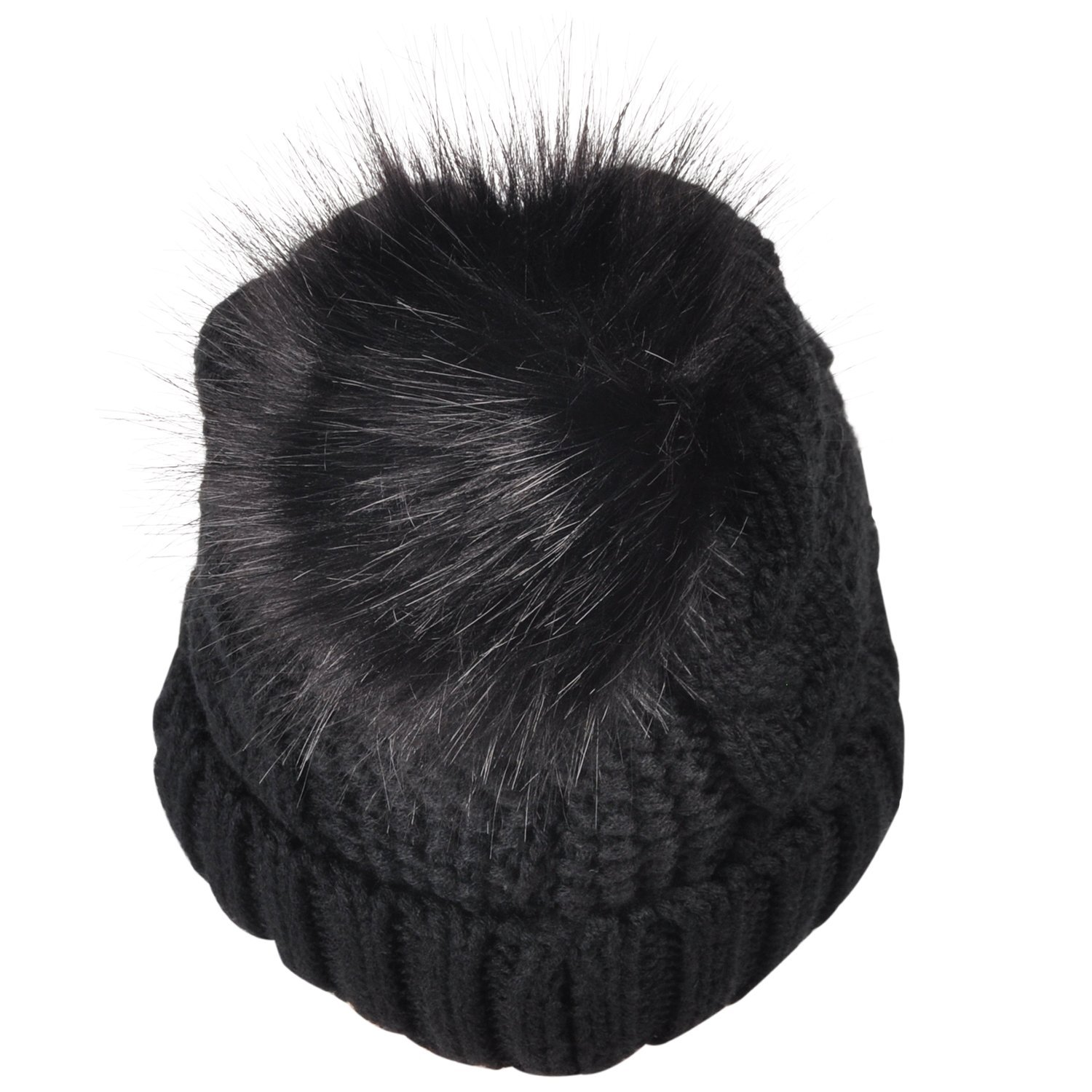 ca638a4c2bb Winter Knit Hat w  Faux Fur Pom Pom Cuff Beanie Skull Ski Cap for Women    Men Black - 1SLWH100BK   Skullies   Beanies   Clothing