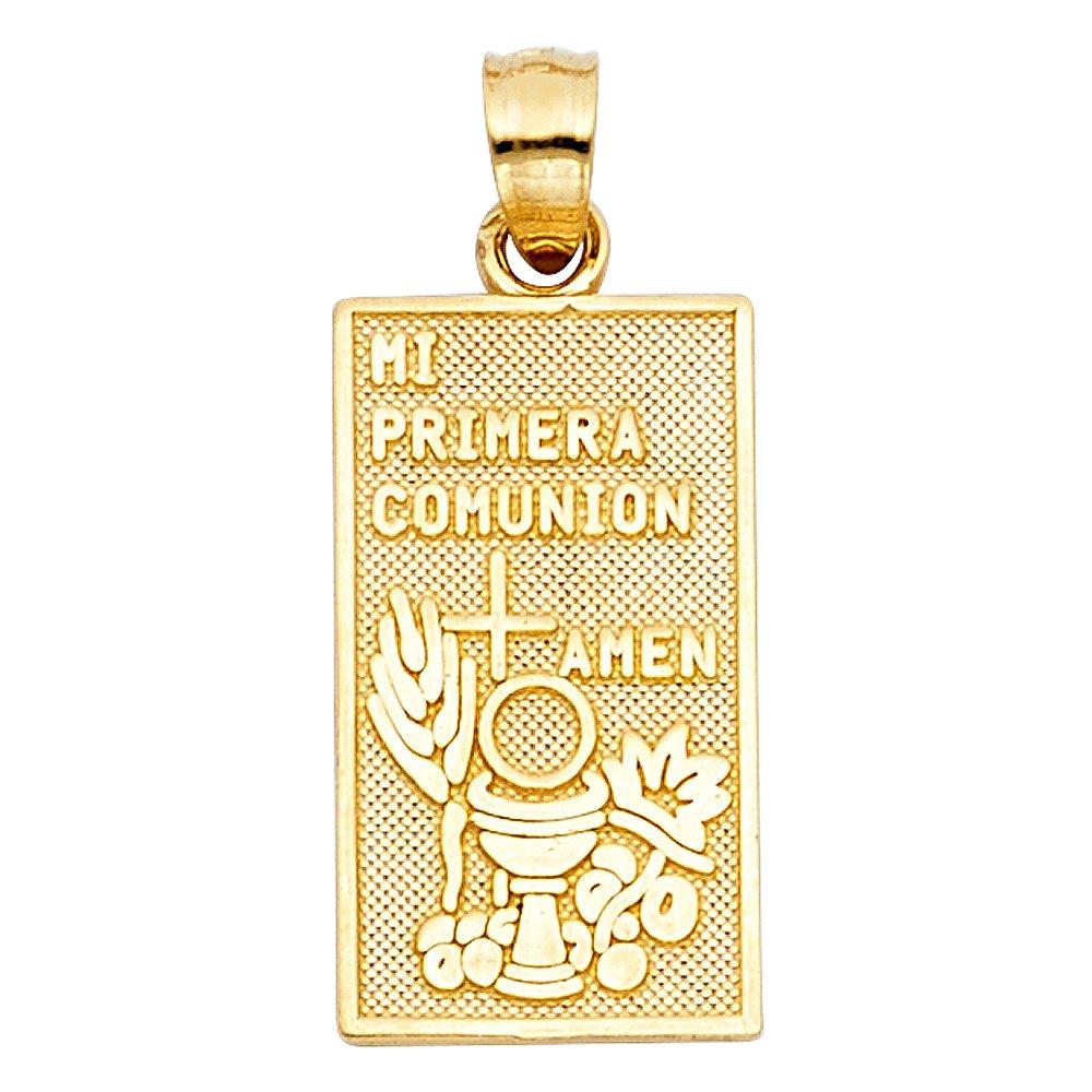 14k Yellow Gold Religious Communion Pendant Charm