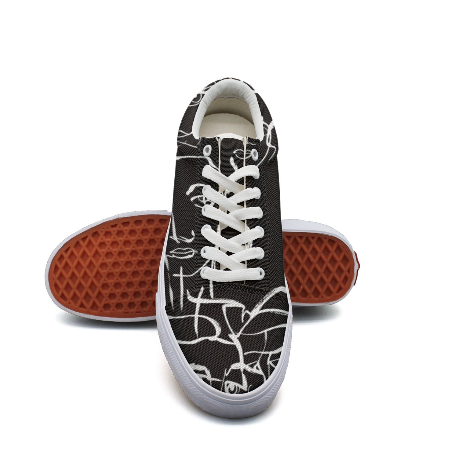 Ouxioaz Womens Laced Shoe Abstract Expression Black Sports Shoe Laces
