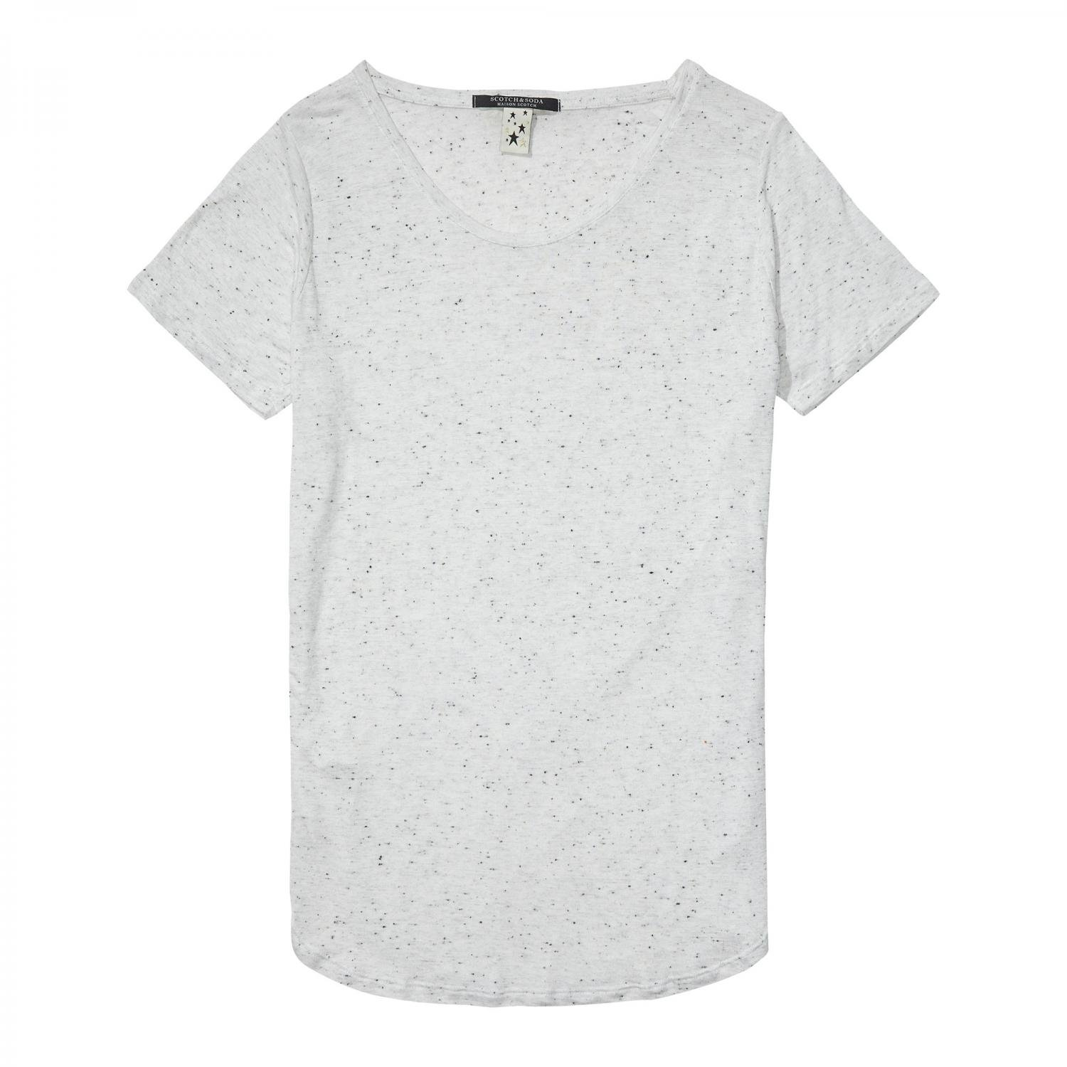 Maison Scotch Damen T-Shirt Basic with Longer Back 135442