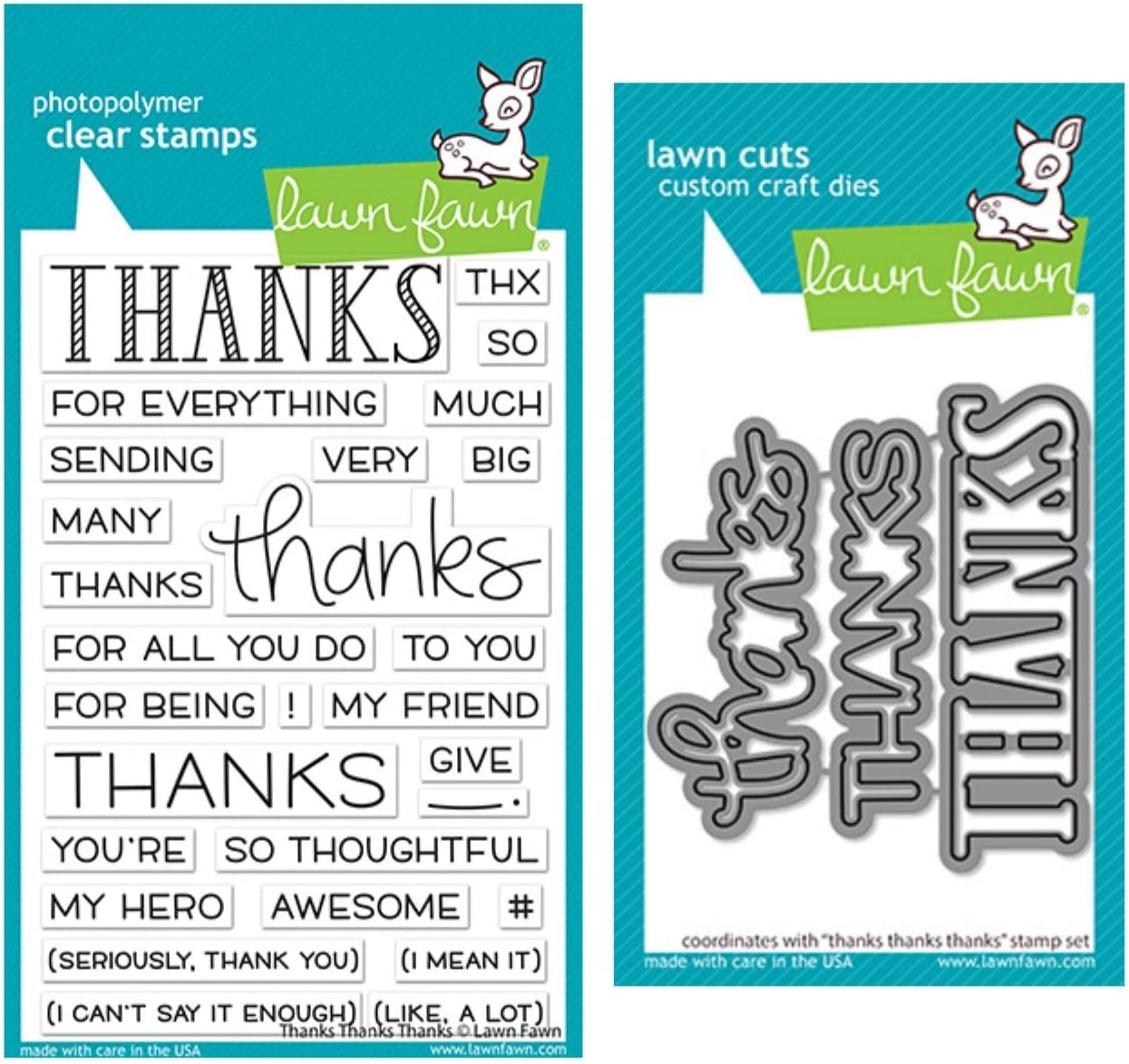 LF2405, LF2406 Lawn Fawn Thanks Thanks Thanks 4x6 Clear Stamp Set and Coordinating Dies Bundle of 2 Items