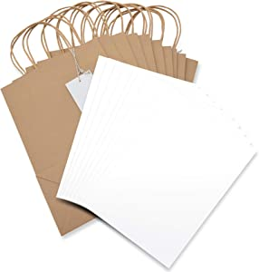 "Psithurism - Premium Grade Brown Kraft Gift Bag Sets with Tissue Paper and Gift Tags-Reinforced Cardboard Bottom Insert-11""H x 8"" W x 4""D-10 Bags, 10 Gift Tags, 30 Tissue Paper Sheets"