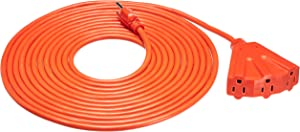 AmazonBasics 16/3 Outdoor Extension Cord with 3 Outlets, Orange, 25 Foot