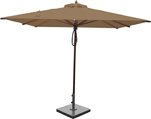 Greencorner Mahogany Square Patio Umbrella 8 Foot, Beige